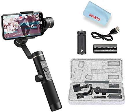 (FeiyuTech SPG 2 3-Axis Gimbal Stabilizer for Smartphone iPhone Xs X 8 7 Plus Samsung Galaxy S9+ S9 S8 Gopro 7 6 Splashproof Audio Transmission Bluetooth Dual Mode Connection OLED Display 14H Runtime)