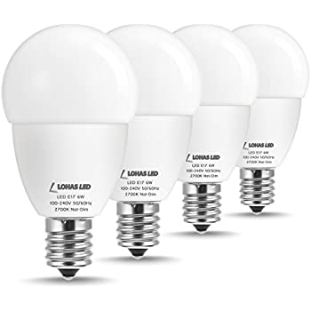LOHAS LED Light Bulb E17 Intermediate Base, Globe Lights, 40W Incandescent Bulb Replacement, Warm White 2700K, 6W G45 LED Bulbs for Ceiling Fan, ...