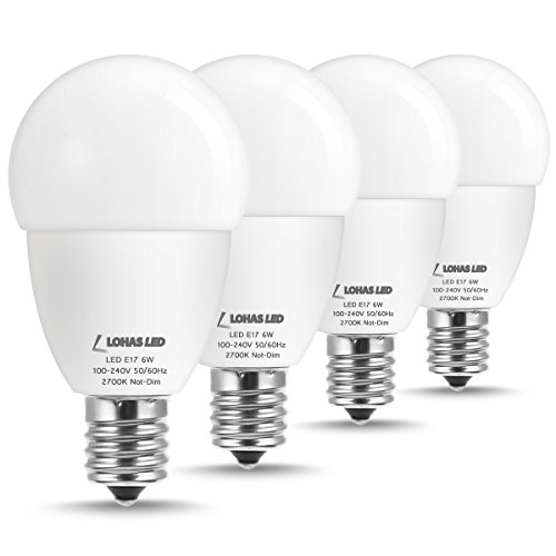 LOHAS E17 LED Globe Light Bulbs, 40 Watt Replacement Bulbs, 6W Warm White 2700K G45 LED Bulb E17 Intermediate Base for Ceiling Fan Lights Chandelier, 550LM, Not Dimmable, 4 Pack