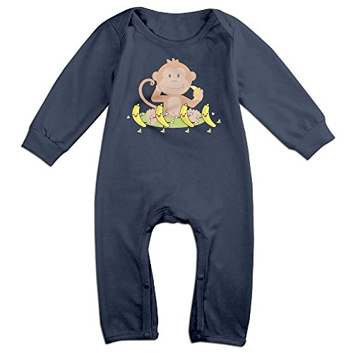 [VanillaBubble Monkey And Banana For 6-24 Months Newborn Custom Long Sleeved Tee Navy Size 24 Months] (Sock Puppet Costume Monkey)