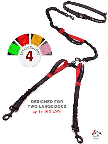 Pet Dreamland Double Dog Leash for Big Dogs - Two Dogs Coupler Hands Free No Pull Tandem Dual Leash for Large Dogs (Black & Red)