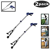 [New Version]2 Pack Foldable Reacher Grabber Tool, Long 32'' Foldable Extender Gripper Tool, Suction Cups for Precise Work, Claw Trash Garbage Picker,Garden Nabber, Mobility Aid Pick Up Tool