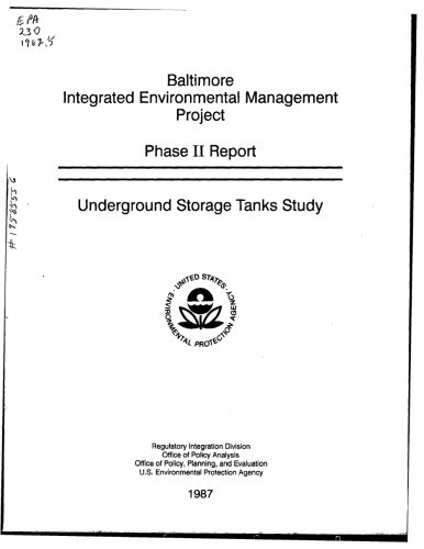 Baltimore Integrated Environmental Management Project Phase II Report  Underground Storage Tanks (Integrated Media Storage)