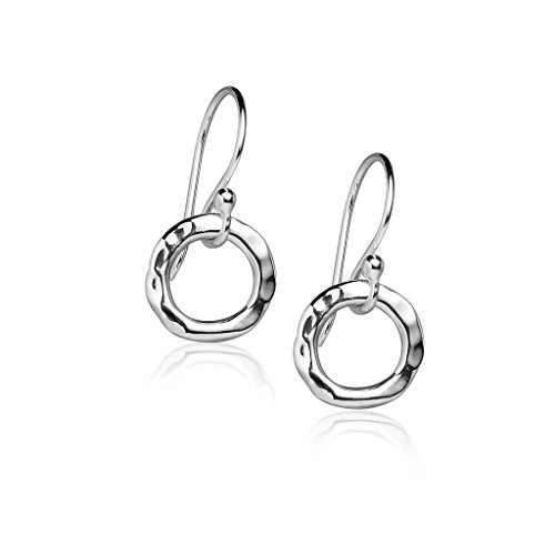 Drop Open Circle Hoop Earrings - Sterling Silver Wavy Textured Fish Hook Dangle One Pair (Silver Circle Drop Necklace)