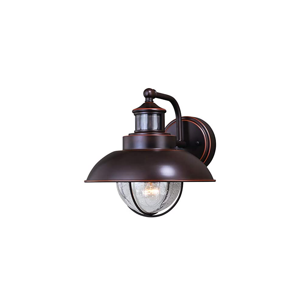 """VAXCEL Motion Sensor Porch Light - Harwich 10"""" Bronze Dusk to Dawn Farmhouse Outdoor Lighting Fixture + Automatic Timer for Exterior Security, Rustic Barn Light for Garage, Front Door, and Patio"""