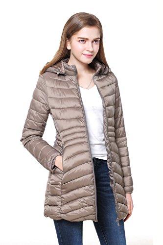 Cicel Chica Mujer Encapuchada abajo chaqueta abrigo de invierno gris