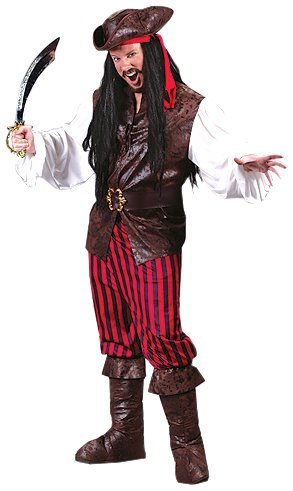 FunWorld Men's  High Seas Buccaneer, Brown, One Size Costume