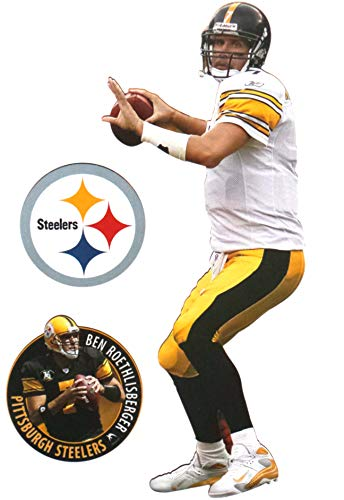 FATHEAD Ben Roethlisberger Mini Graphic + Pittsburgh Steelers Logo Official NFL Vinyl Wall Graphics 7