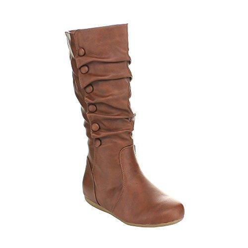 Top Moda Bank-78 Womens Mid Calf Round Toe Stiching Flat Boots,Tan,10