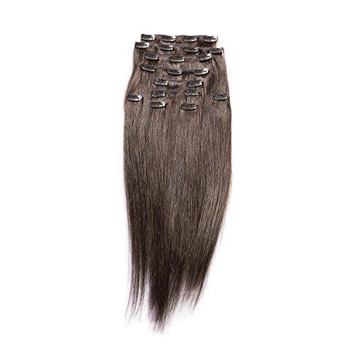 "Price comparison product image Sono 1 Count 140 g 16"" Clip-in Straight Sono 1 Count 100% Human Hair Extensions, #1B Jet Black & Darkest Brown"