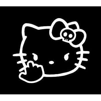 02d2971a3 Hello Kitty Middle Finger JDM Decal Vinyl Sticker|Cars Trucks Vans Walls  Laptop| White |5.5 x 4.5 in|CCI1187