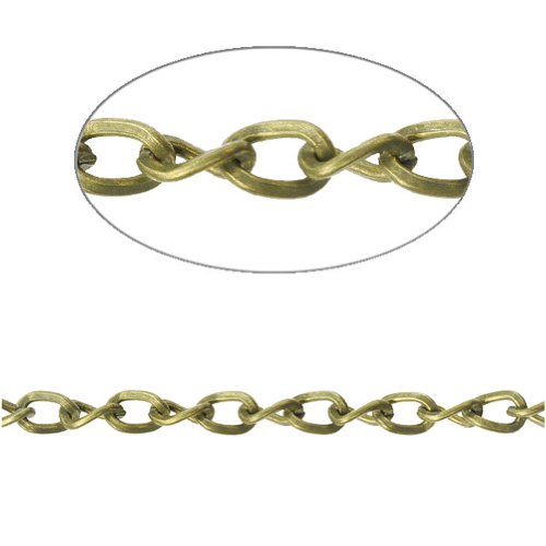 5x3.3x0.9mm Antique Brass Twisted Curb Chain Iron Unfinishes Chains for DIY Necklace Wholesale 4m 13.12feet CH0123-4