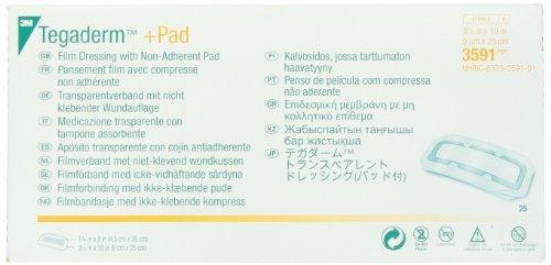 3m Tegaderm Pad Film Dressing (3M 3591 Tegaderm +Pad Film Dressing with Non-Adherent Pad, 25 Pads Per Pack)