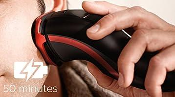 Philips SHAVER Series 3000 S3580/06 - Afeitadora (Máquina de afeitar de rotación, SH30, 1 año(s), Negro, Rojo, Batería, Ión de litio): Amazon.es: Hogar