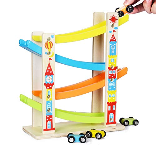 Wooden Storage Honey Kids (JPJ(TM)1pcs Hot Fashion Boy And Girl Gifts Wooden Race Track Car Ramp Racer With 4 Mini Cars Toddler Toy)