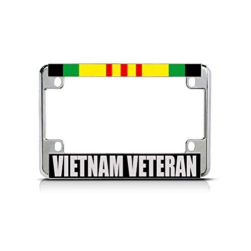 Vietnam Veteran RED Green Chrome Metal Bike Motorcycle License Plate Frame Tag Perfect for Men Women Car garadge Decor