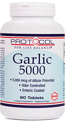 Protocol For Life Balance - Garlic 5000 - Odor Controlled with 5,000 mcg of Allicin Potential, Immune System Support, Antioxidant Rich, Anti Aging, Heart Healthy Benefits - 90 Tablets