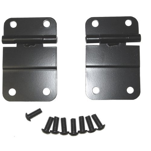 Rugged Ridge 11207.01 Black Tailgate Lower Hinge - Pair (Hinge Lower Tailgate)