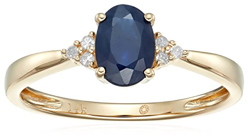 14k Yellow Gold Blue Sapphire and Diamond Classic Engagement Ring (1/10 cttw, I-J Color, Clarity I2-I3), Size 7 14k Yellow Sapphire Ring