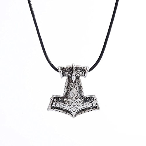 Ulifeshop Clearance Men's Norse Viking Amulet Pendant Necklace Raven Animals Viking Thor Hammer Chain Necklace (Silver)