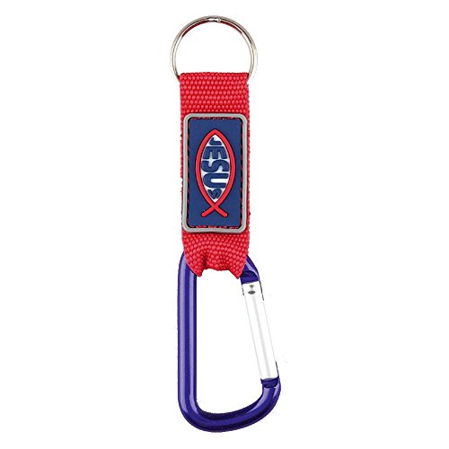 Dicksons Red Jesus Fish Ichthus Strap and Clip Carabiner Christian Key Ring Keychain