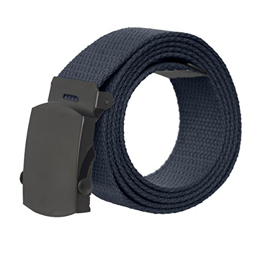 Canvas Military Style Belt with Black Buckle - Navy (Navy Belt Buckle)