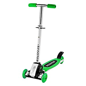 ANCHEER KidsKick Scooter 3 WheelsMini Small Foldable Adjustable Push Sports Toys Scooter for Boys Girls Children Kids Age 3 Up, Green