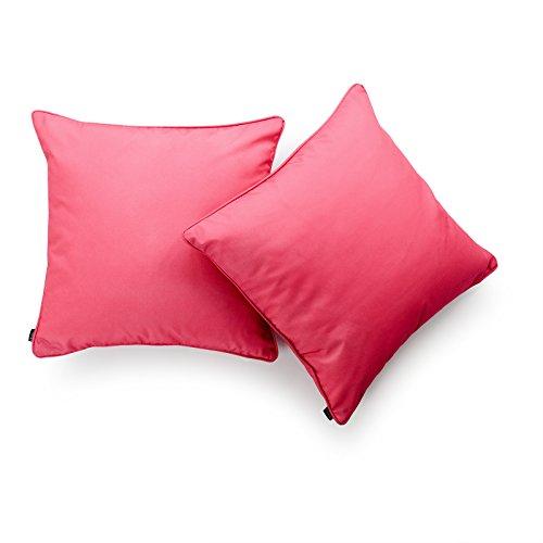 Hofdeco Decorative Throw Pillow Cover INDOOR OUTDOOR WATER RESISTANT Canvas Hot Pink Solid 18