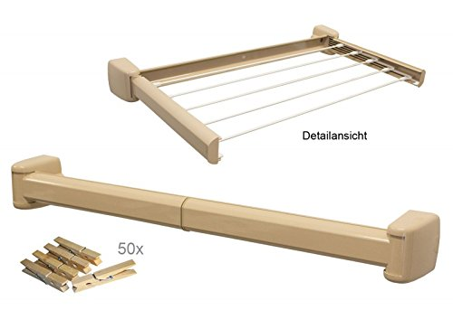 Set Kombi Wäschetrockner & Handtuchhalter ausziehbar mit 50 St. Holz Wäscheklammern Set