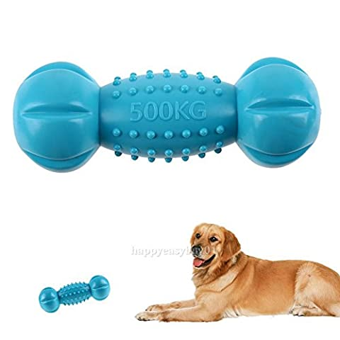 XENO-Pet Dog Rubber Cat Soft Elastic Dumbbell Puppy Sound squeaky Chew Training Toy - 594 Mint