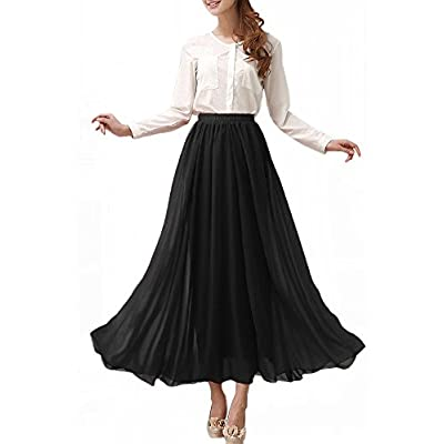 Afibi Womens Chiffon Retro Long Maxi Skirt Beach Ankle Length Skirt at Women's Clothing store