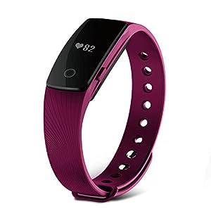 Tracker d'activité, SAVFY Smart Bracelet connecté Sport Fitness Tracker podomètre calories sommeil fréquence cardiaque 2016 – Bluetooth V4.0 – Appel SMS – Compatible avec Smartphone iPhone et Android – Violet