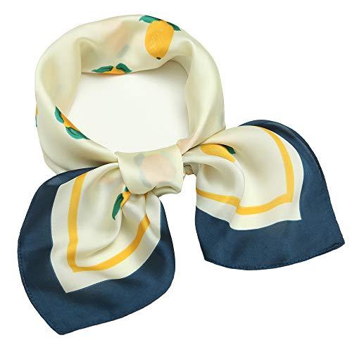 Silk Like Scarf Square Satin Hair Scarf Fashion Lemon Neck Scarfs for Women 27'' x 27'' -