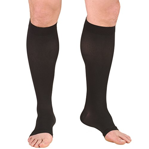 Truform Short Length 20-30 mmHg Compression Stocking for Men and Women, Reduced Length, Open Toe, Black, Large (20-30 mmHg)