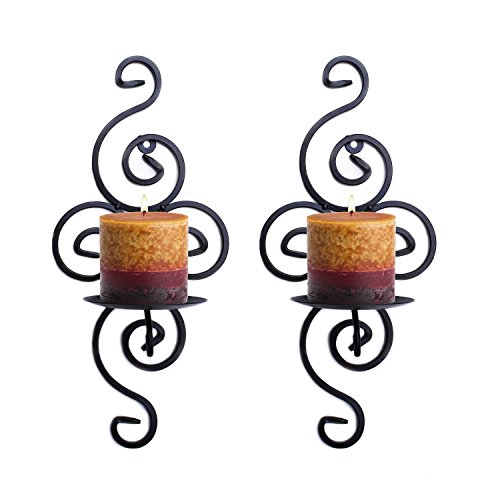 Pasutewel Wall Candle Sconces,Set of 2 Elegant Swirling Iron Hanging Wall Mounted Decorative Candle Holder 14x7 Inch For Home Decorations,Weddings,Events (Holder Candle Sconce)