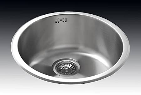 STAINLESS STEEL ROUND BOWL AND DRAINER KITCHEN SINK UTILITY SINK ...