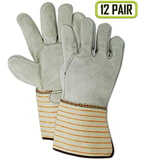 Global Glove 2300DP Leather Gunn Cut Economy Grade Double Palm Glove with Slip-on Cuff Red Case of 72 Small Work
