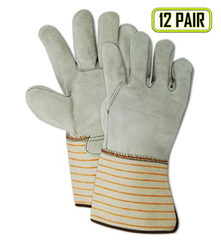 MAGID T6370G Top Gunn Full Side-Split Cow Leather Glove with Gauntlet Cuff, Work, Extra-Large, Gray (12 Pair)