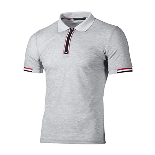 kaifongfu Men's Top,Clearance Men's Lapel Polo Shirt T-Shirt Top Slim Short Sleeve T Shirt Blouse(Gray,XL) (Macys Polo Shirts)