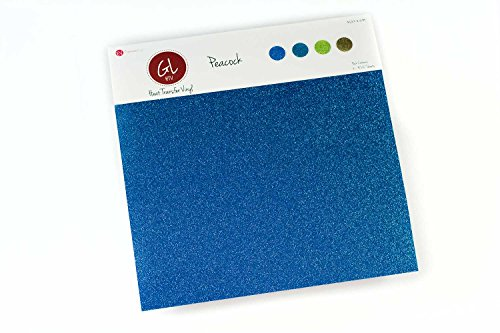Expressions Vinyl - Peacock Pack - 9in. x 12in. Siser Glitter Heat Transfer Vinyl - Blue Vinyl Peacock