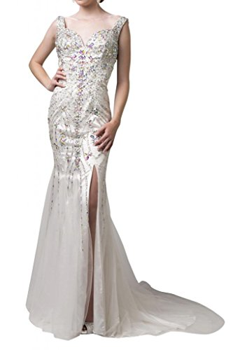Toscana noche de noche de lujo Ranura Mode Vestidos de novia de largo Satin Princesa novia Vestidos beige 36