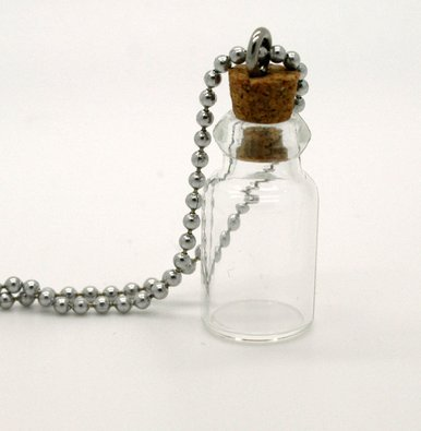 - Mini Apothecary Keepsake Glass Bottle w/ Ball Chain Necklace