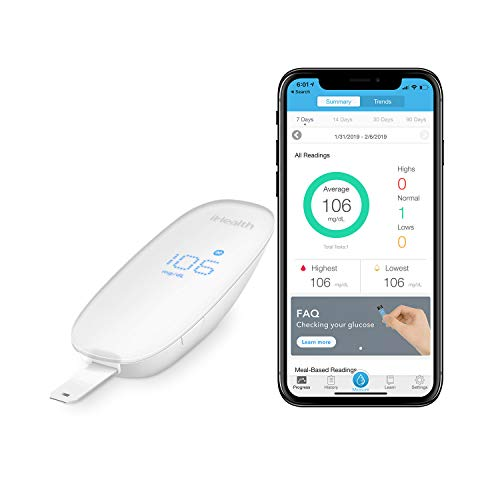 iHealth Wireless Smart Blood Sugar Test Kit for Apple and Android, Apple MFi Certified Bluetooth Blood Glucose Meter, Smart Diabetes Testing Kit Comes With Lancing Device ,10 Lancets and Carry Bag (Iphone El Ultimo)