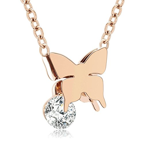 Stainless Steel Double Butterfly Necklace (Gold) - 8