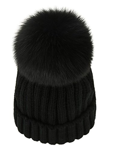 Real Fur Pom Pom (LITHER Winter Knit Hat Real Fox Fur Pom Pom Womens Girls Knit Beanie Hat)