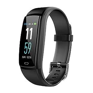 Pulsera de Actividad,GLAMSVILL Reloj Inteligente Deportivo Rastreador de Fitness Con Monitor de Presión Arterial y Frecuencia Cardíaca, Contador de Calorías, Podómetro, Monitor de Sueño, Sistema de Notificaciones,cuidado saludable de la dama, Para Dispositivos Android y Ios, (Negro)