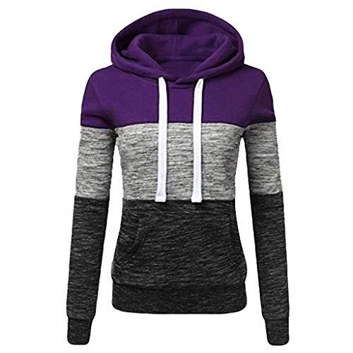 KaiCran Womens Sweatshirt Long Sleeve Tricolor Patchwork Hooded Pullover Sport Hoodie with Pocket (Purple, XXL) ()
