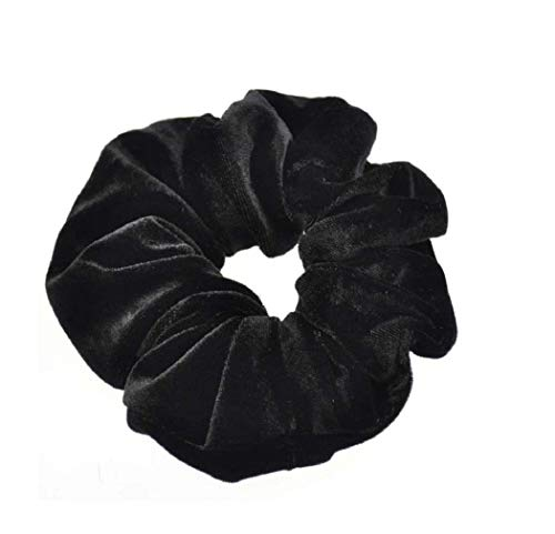 iNoDoZ 10 PC Velvet Ponytail Holder Hair Scrunchies for Women Hair Ties Donut Maker Headbands Black -