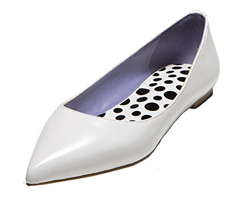 AmoonyFashion Womens Pointed Closed Toe No-Heel PU Solid Pull-On Pumps-Shoes White lJ4pWGMmn