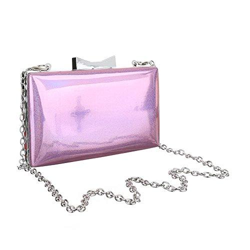Damen Tasche, Abendtasche, Kleine Schultertasche Perlmutt Effekt, Synthetik, TA-1560-138A Rosa Lila